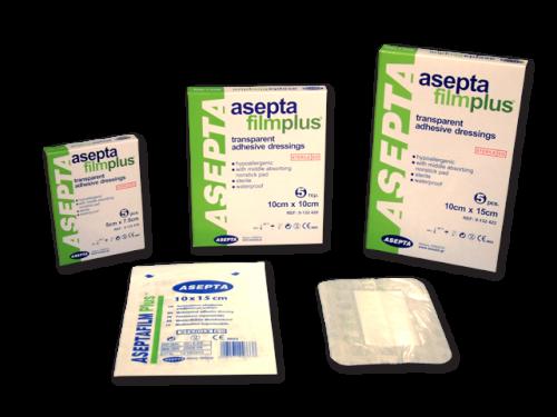 ASEPTA Filmplus Επιθέματα διαφανή αυτοκόλλητα απορροφητικά (φιλμ) 10cmX10cm 5τμχ.
