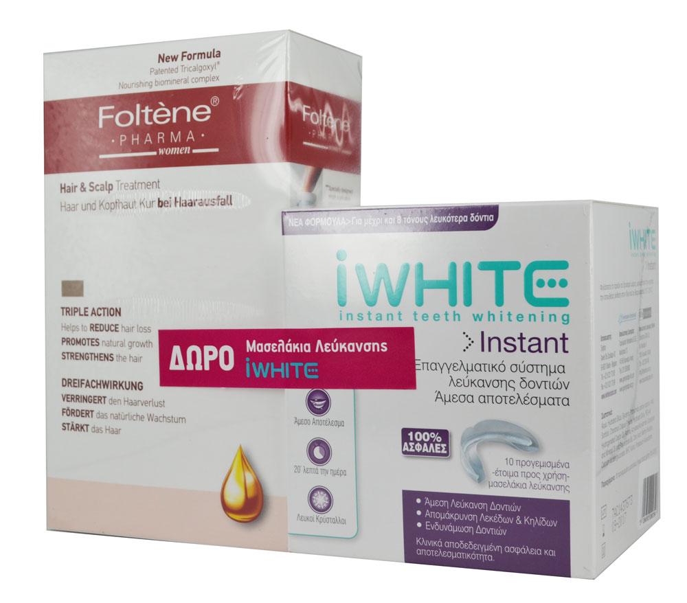 Foltene Hair & Scalp Treatment Women 12 Αμπούλες των 8,3ml+ iWhite Επαγγελματικό Σύστημα Λεύκανσης Δοντιών 10 Μασελάκια