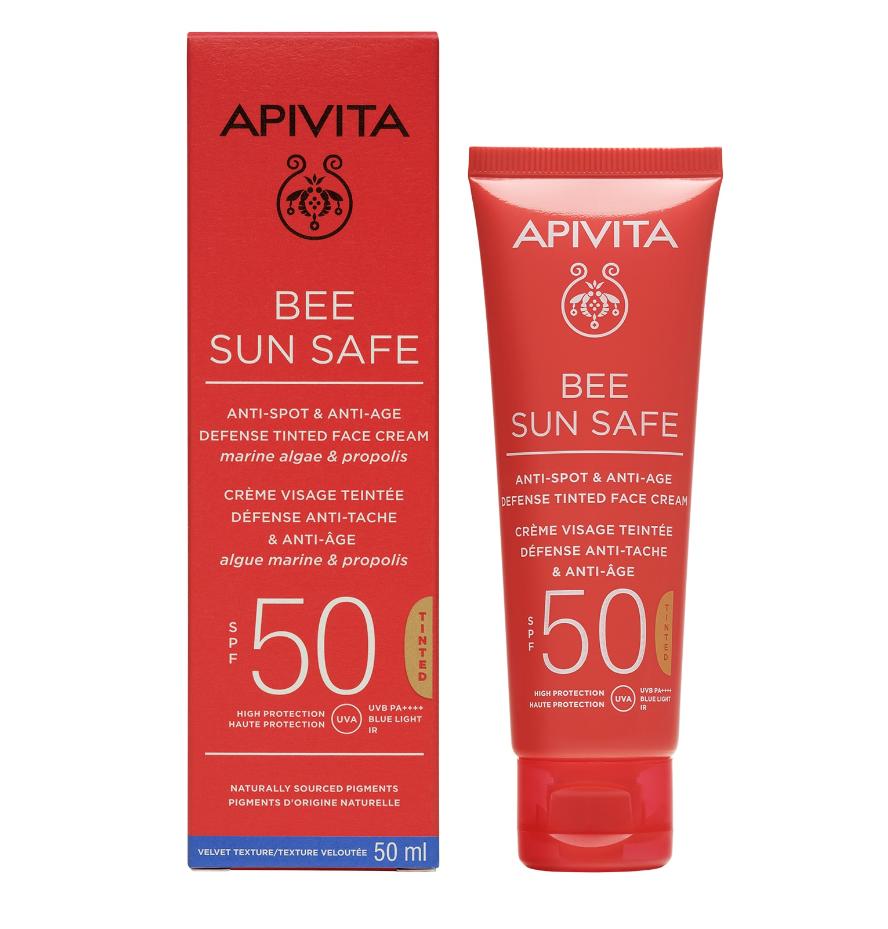 Apivita Bee Sun Safe Anti-Spot & Anti-Age Defense Tinted Face Cream SPF50 50ml