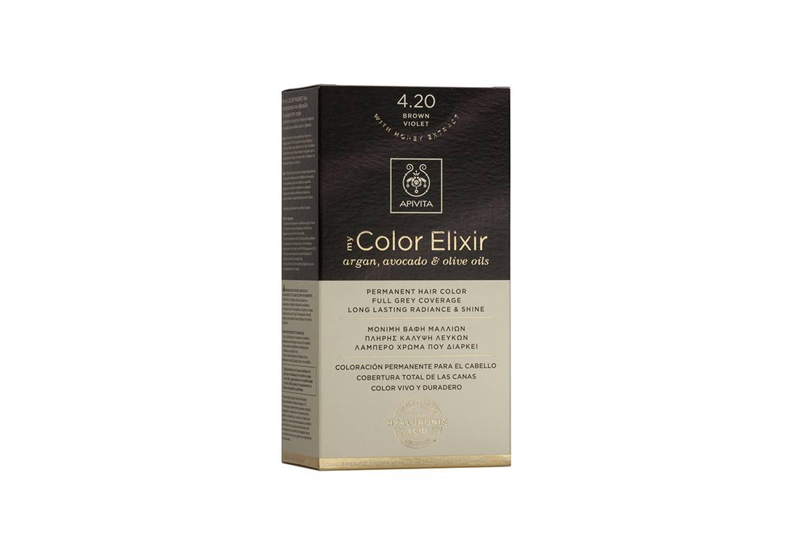 Apivita My Color Elixir kit Μόνιμη Βαφή Μαλλιών 4.20 ΚΑΣΤΑΝΟ ΒΙΟΛΕΤΙ