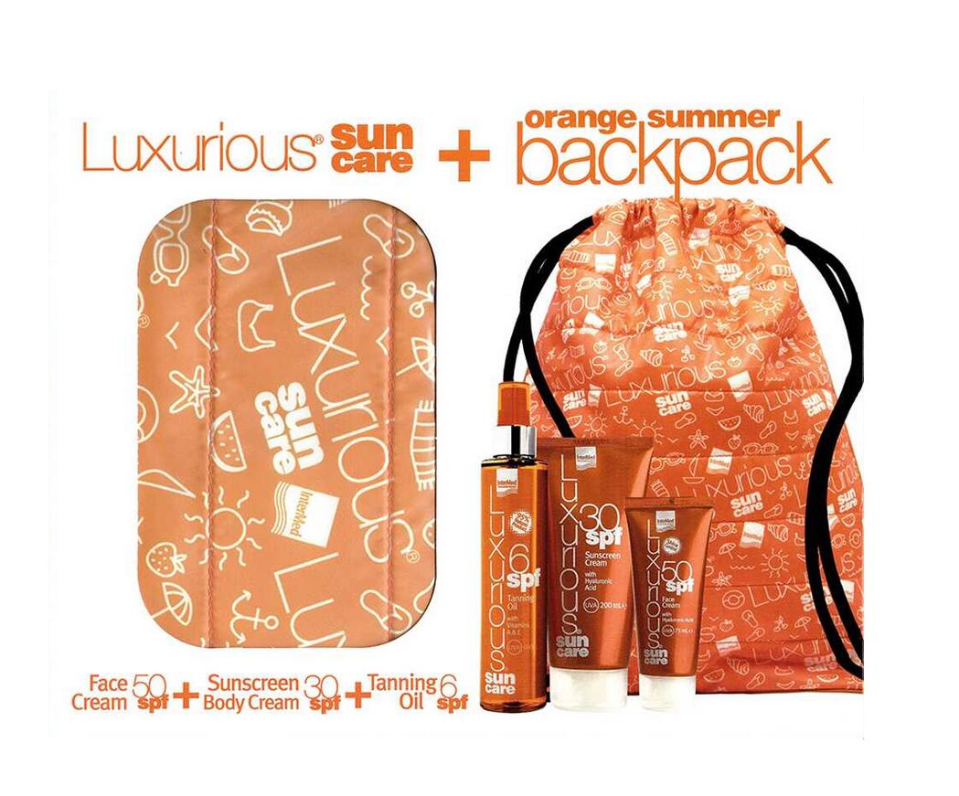 Intermed Set Luxurious Sun Care Face Cream SPF50 75ml + Sunscreen Body Cream SPF30 200ml + Tanning Oil SPF6 200ml + Δώρο Orange Summer Backpack 1τμχ