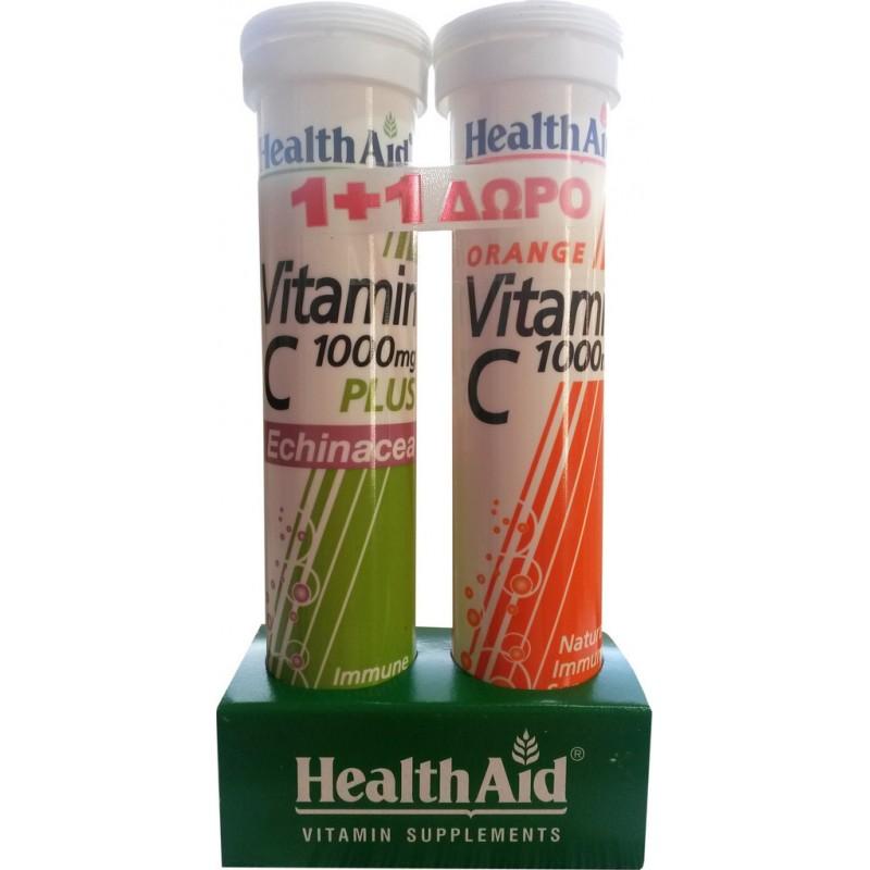 HEALTH AID Vitamin C 1000mg+Echinacea -Lemon & 1000mg Πορτοκάλι - 20 + 20 Tabs ΔΩΡΟ