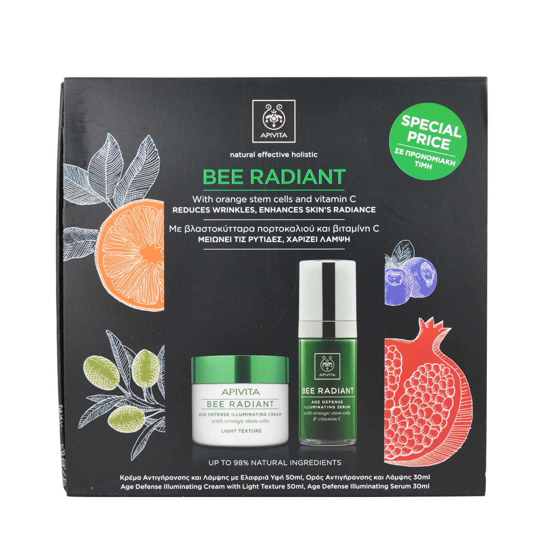Apivita Promo Bee Radiant Κρέμα Αντιγήρανσης και Λάμψης Ελαφριά Υφή 50ml + Serum Bee Radiant 30ml
