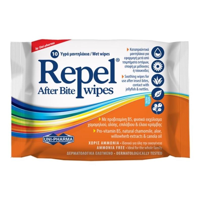 UNIPHARMA Repel After Bite Wipes Καταπραϋντικά μαντηλάκια για μετά από τσιμπήματα 10τμχ