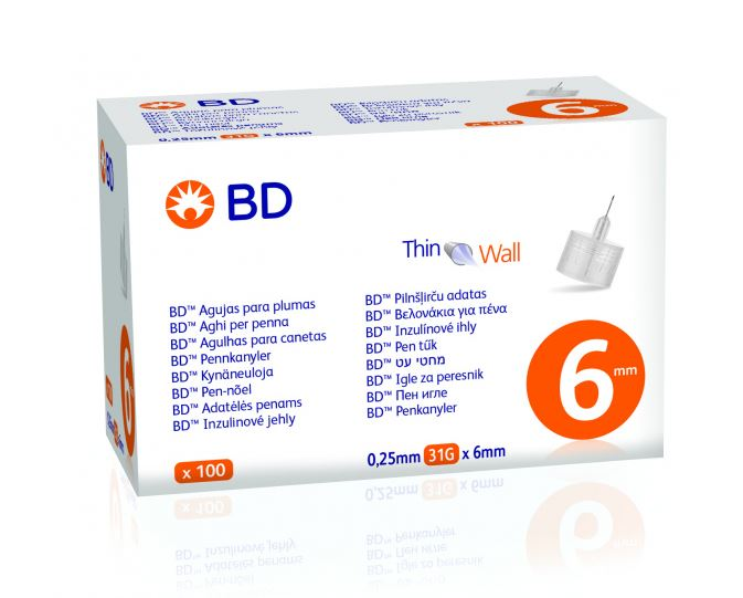 BD Βελόνες για Πένες Ινσουλίνης 0.25mm 31G X 6mm 100τμχ