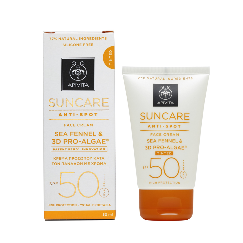 Apivita Suncare Anti-Spot Tinted Face Cream Κατά των Πανάδων με Χρώμα SPF50 με Sea Fennel & 3D PRO-ALGAE® 50ml