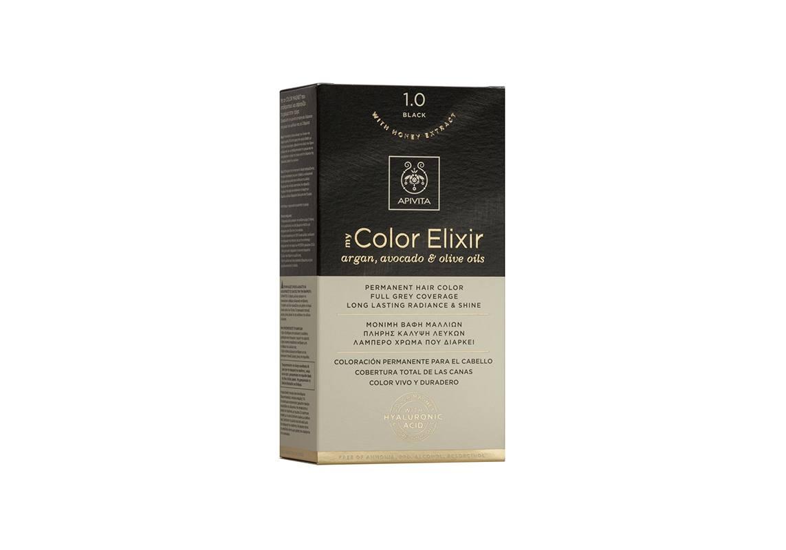 Apivita My Color Elixir kit Μόνιμη Βαφή Μαλλιών 1.0 ΜΑΥΡΟ