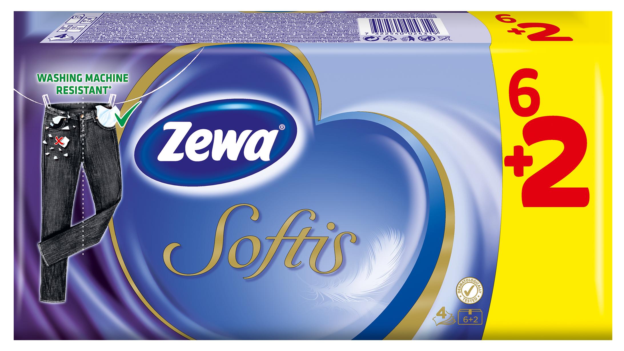 Zewa Softis Classic Χαρτομάντηλα Τσέπης 6+2 Δώρο Πακέτα
