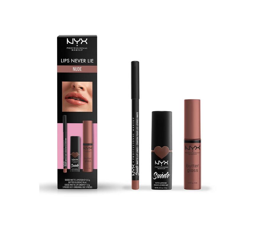 NYX PM Set Lips Never Lie Nude Suede Matte Lipstick 3.5g & Butter Gloss 8ml & Suede Matte Lip Liner 1.0g