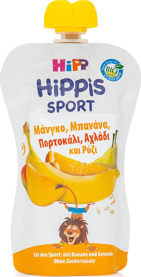 Hipp Hippis Sport Μάνγκο, Μπανάνα, Πορτοκάλι, Αχλάδι & Ρύζι 120gr
