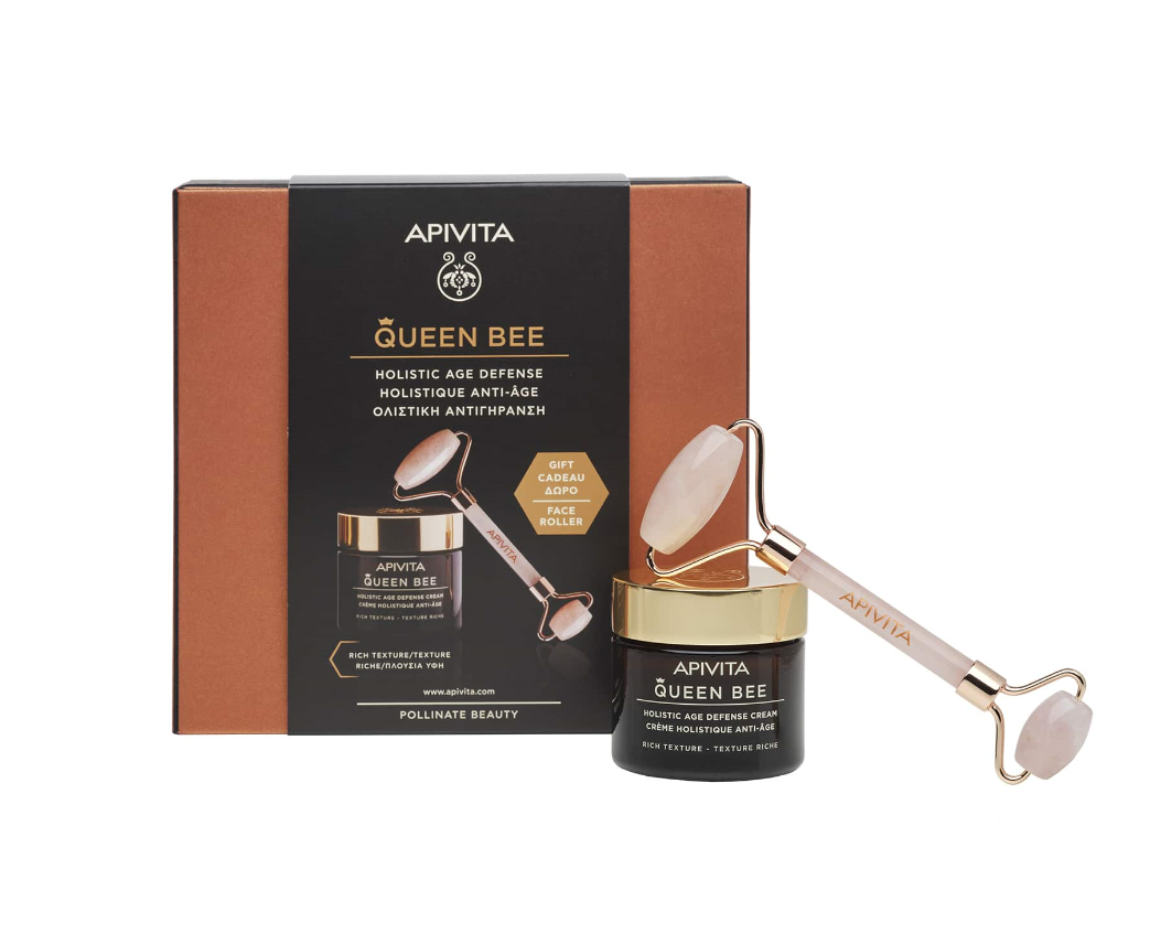 Apivita Set Queen Bee Κρέμα Ημέρας Ολιστικής Αντιγήρανσης Πλούσιας Υφής 50ml + Δώρο Face Roller 1τμχ