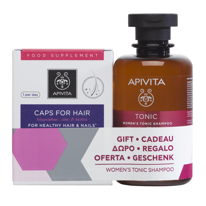 Apivita Set For Healthy Hair & Nails 30caps + Δώρο Womens Tonic Shampoo Hippophae TC & Laurel 250ml