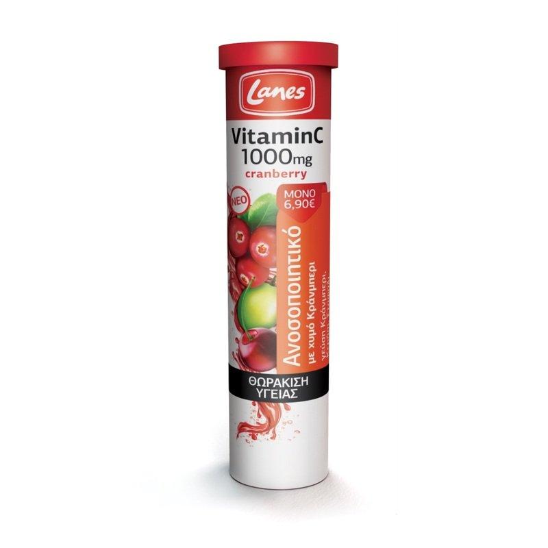 Lanes Vitamin C 1000mg με Χυμό Κράνμπερι και Γεύση Κράνμπερι, Κεράσι& Σταφύλι 20eff.tabs