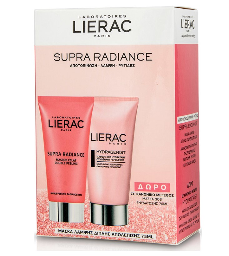 Lierac Set Supra Radiance Double Peeling Radiance Masque 75ml + Δώρο Hydragenist Masque SOS Hydratant Oxygenant Repulpant 75ml