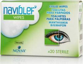 Naviblef Wipes Καθαριστίκα Μαντηλάκια Βλεφάρων, Βλεφαρίδων και Προσώπου 20τμχ