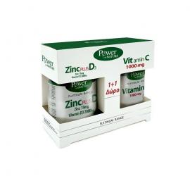 Power Health Set Platinum Range Zinc Plus D3 30tabs + Δώρο Platinum Range VitC 1000mg 20tabs