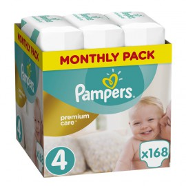 Pampers Premium Care Πάνες Μέγεθος 4 Maxi 8-14 kg Monthly Pack 168 Πάνες