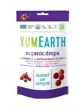 Yumearth Organic Drops Vitamin C Βιολογικές Καραμέλες Φρούτων με Βιταμίνη C 93.6gr