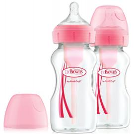 Dr. Browns Μπιμπερό πλαστικό Options+ (Φ.Λ.) 270 ml ροζ (2 τεμ.)