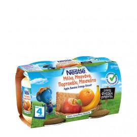 Nestle Παιδική Τροφή με Μήλο, Μπανάνα, Πορτοκάλι και Μπισκότο από 4 Μηνών 2x130gr