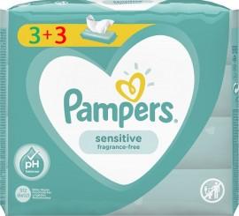 Pampers Sensitive Μωρομάντηλα 3+3 Δώρο 312τμχ