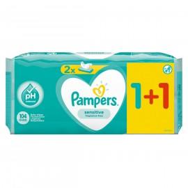 Pampers Sensitive Μωρομάντηλα 1+1 Δώρο 104τμχ