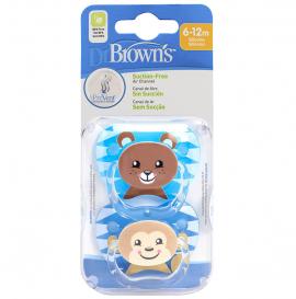 Dr. Browns Πιπίλα ορθο/κη με σχέδια αγόρι, επίπεδο 2, 6-12 μηνών (2 τεμ.)