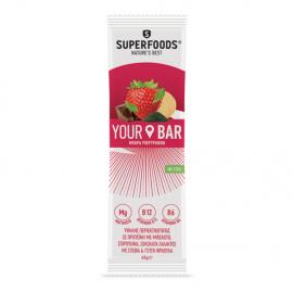 Superfoods Your Bar με Μπισκότο, Σπιρουλίνα, Σοκολάτα Γάλακτος με Στέβια και Γεύση Φράουλα 45gr