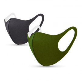 Tili Μάσκες Προσώπου Πολλαπλών Χρήσεων Eνηλίκων Zευγάρι Mαύρη-Πράσινη 2τμχ