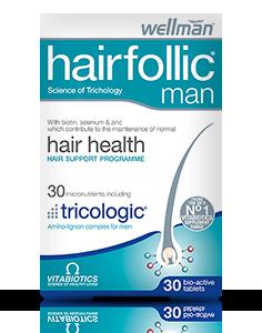 VITABIOTICS WELLMAN HAIRFOLLIC (TRICOLOGIC) MAN 60 TABS