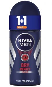NIVEA Αποσμητικό Roll On Men Dry Impact 50ml 1+1 ΔΩΡΟ