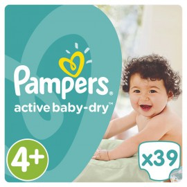 PAMPERS Active Baby-Dry No.4+ (9-16Kg) 39 Πάνες