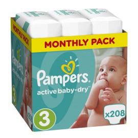 PAMPERS Active Baby-Dry No.3 (5-9Kg) 208 Πάνες