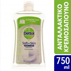 Dettol Soft on Skin Hard on Dirt Liquid Ανταλλακτικό Αντιβακτηριδιακό Υγρό Κρεμοσάπουνο για Ευαίσθητες Επιδερμίδες 750ml