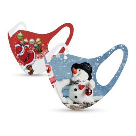 Tili Μάσκες Προσώπου Πολλαπλών Χρήσεων Χριστουγεννιάτικη Μάσκα με σχέδιο Χιονάνθρωπο – Άγιο Βασίλη 2τμχ