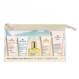 Nuxe Travel Kit With Rose Petals 15ml + Moisturising Cream 15ml + Huile Prodigieuse 10ml + Hand and Nail Cream 15ml + Melting Shower Gel 30ml