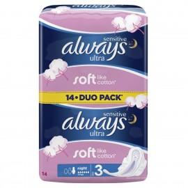 Always Sensitive Ultra Night Duo 14τμχ