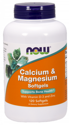 Now Foods Calcium & Magnesium With Vitamin D-3 & Zinc 120 Softgels