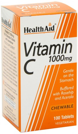 Health Aid Vitamin C 1000mg with Rosehip & Acerola 100 Μασώμενες Ταμπλέτες