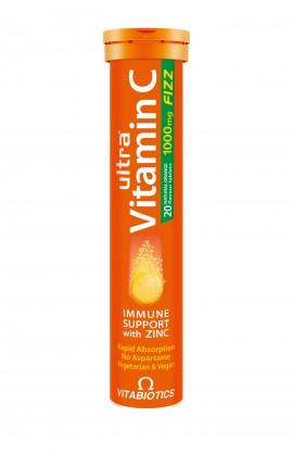 Vitabiotics Ultra Vitamin C 1000mg Fizz with Zinc 20 Aναβράζοντα Δισκία με Γεύση Πορτοκάλι