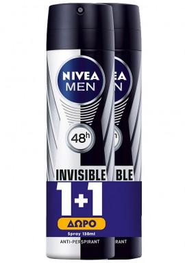 NIVEA Ανδρικό Spray Invisible Black & White Original 150ml 1+1 Δώρο