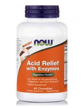 Now Foods Acid Relief with Enzymes (Call Carb, Xylitol Sweetened) 60Chewables
