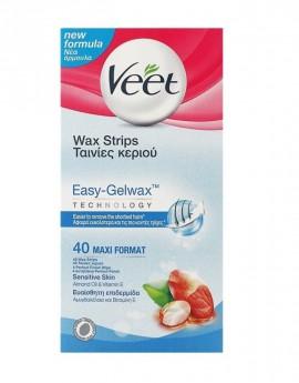 Veet Wax Strips Ταινίες Κεριού για Ευαίσθητη Επιδερμίδα 40τμχ