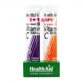Health Aid Vitamin C 1000mg με Γεύση Φραγκοστάφυλο 20tabs +  Δώρο Vitamin C 1000mg με Γεύση Πορτοκάλι 20tabs