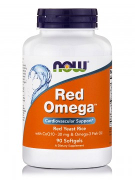 Now Foods Red Omega (Salmon Oil 1000 mg, CoQ10 60 mg, Organic Red Yeast Rice) 90Softgels