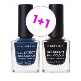 Korres Set Gel Effect Nail Colour 84 Indigo Blue 11ml + Δώρο Gel Effect Nail Colour 77 Sequins Plum 11ml