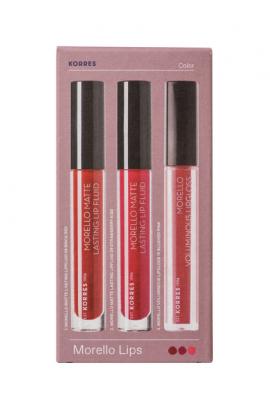 Korres Set Morello Creamy Lipstick 59 Burgundy Red 3,5gr + Korres Morello Matte Lasting Lip Fluid 29 Strawberry Kiss 3,4ml + Korres Morello Voluminous LipGloss 16 Blushed Pink 4ml -50%