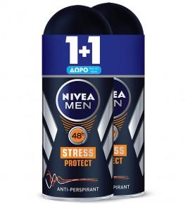 NIVEA Αποσμητικό Roll On Men Stress Protect 50ml 1+1 ΔΩΡΟ