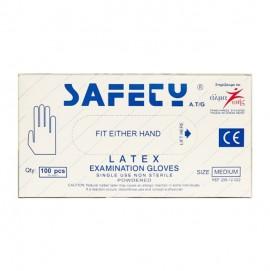Safety Γάντια Latex με Πούδρα μιας Χρήσης Medium 100τμχ