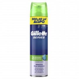 Gillette Series Gel Ξυρίσματος Sensitive Skin 200ml + 40ml Δώρο